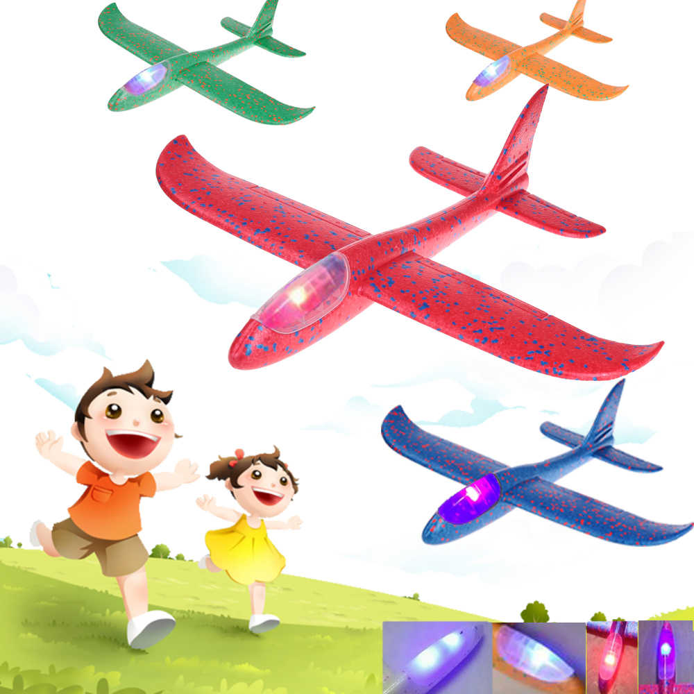 Quaslover Light up Children Airplane Toys  Foam Aeroplane Model Party Bag Fillers Flying Glider Plane Toys Game For Kids