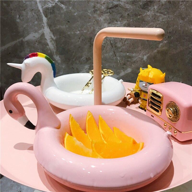 Bol en céramique assiette à Dessert | Plateau à salade, conteneur de nourriture, motif de Flamingo, roman nordique, Restaurant de noël, licorne ustensiles de cuisine