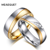10pcs/lot Wedding Ring Jewelry Stainless Steel Couples Gold Color Zircon Stone Love Women Men Engagement Rings 6mm