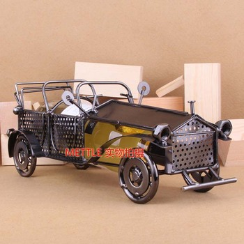 METTLE 8759 vintage car styling wine rack retro decoration field Wrought iron handicrafts, ornaments. Gifts, home decoration,