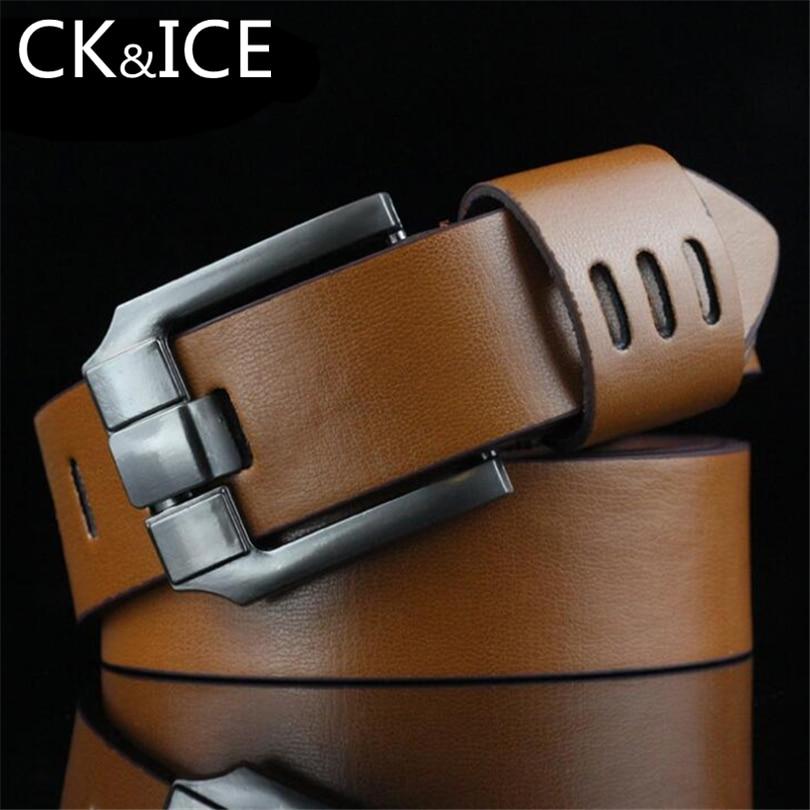 CK&ICE Vintage Design Belts For Men Good Quality Faux Leather Belt Man Fashion Strap Male Square Pin Buckle Belts For Men