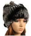 H907-wholesale autumn winter yarn hand knitted  thickening fashion cap genuine rex rabbit fur hat women