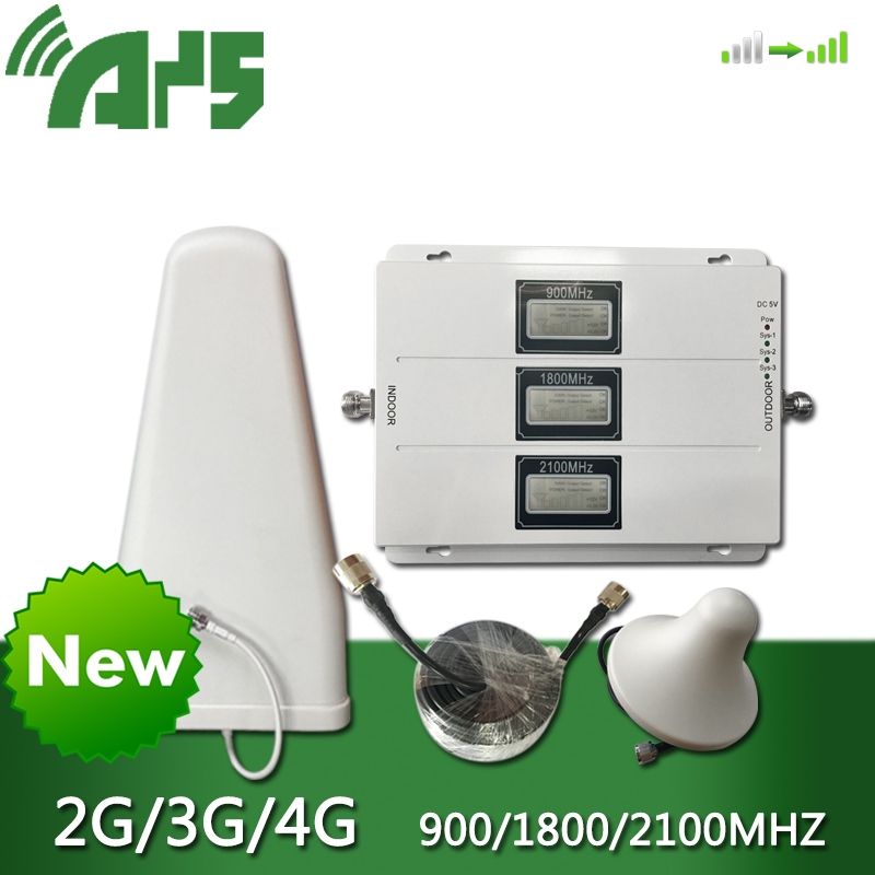 900 1800 2100 ganancia 70dB tribanda repetidor de señal móvil GSM DCS LTE WCDMA UMTS MHz con AGC ALC 2G 3G 4G amplificador