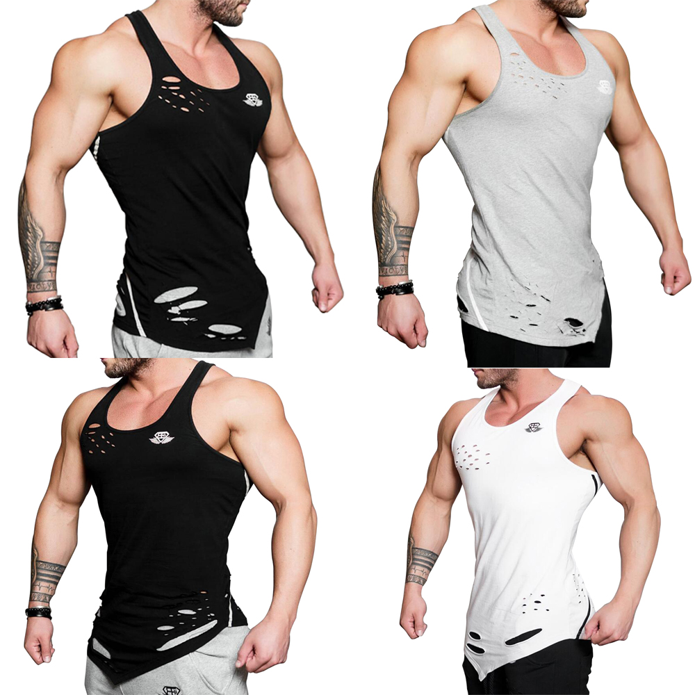 Men's Rips Longline Vest Step Hem Extreme Racer Back Gym Tank Tops Singlet