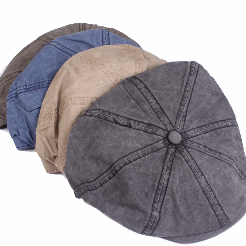 HT1602 Classic Retro Berets Western Men Women Cotton Gastby Octagonal Flat Caps Vintage Washed Denim Beret Caps for Men Women in Men 39 s Berets from Apparel Accessories