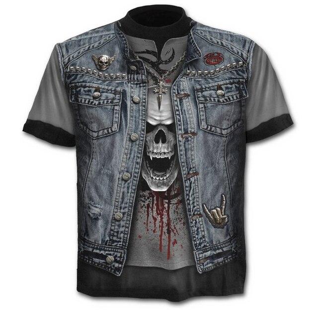 Camiseta ajustada de calidad con estampado 3d para hombre, Top de verano con calavera y cuello redondo Casual para hombre camiseta