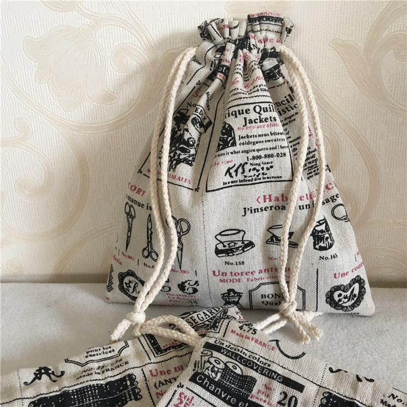 YILE Cotton Linen Drawstring Multi-purpose Organizer Bag Party Gift Bag Illustrated English Newspaper N8502-2