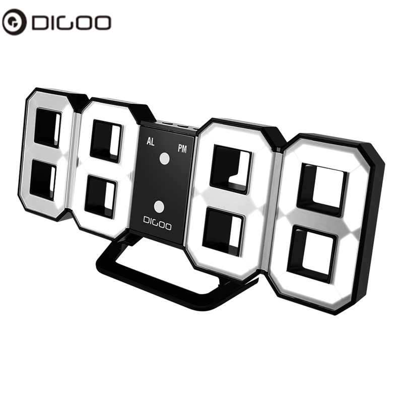 Digoo DC-K3 8 Inch Multi-Function Large 3D LED Digital Wall Clock Alarm Clock With Snooze Function 12/24 Hour Display baldr 7 color display projection led clock electronic desktop alarm clock digital table clocks snooze function