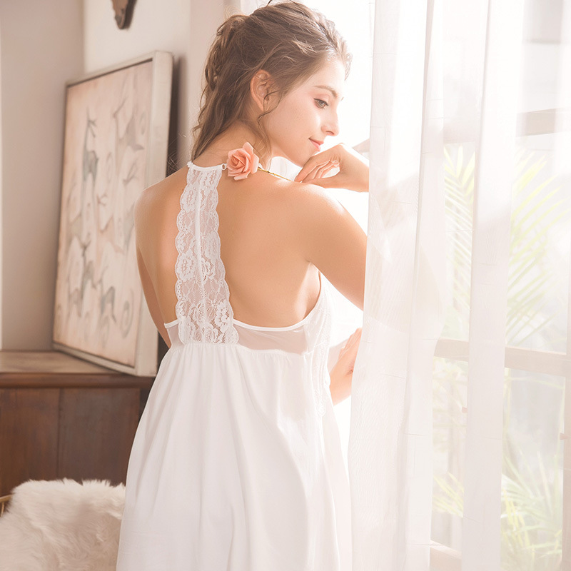 Summer Sexy Suspender   Nightgown   Princess   Sleepshirts   Female V - Neck Sleep-dress Women Dresses Home Clothes Lace Sweet Sleepwear