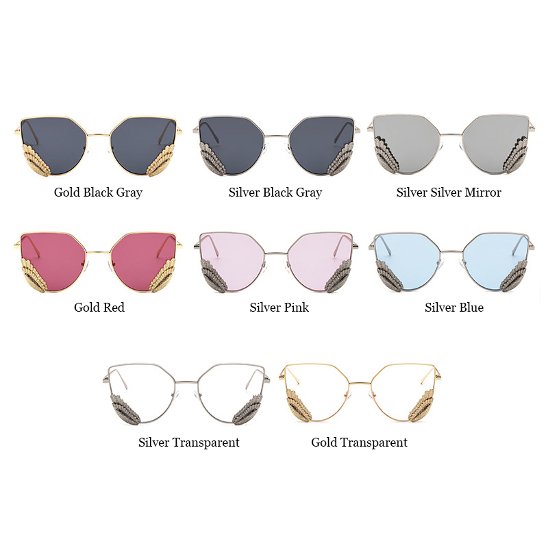 99e114544d299 140mm Angel Wing Cat Eye Sunglasses Women Red Sunglasses Gold Silver Frame  Silver Mirror Pink Transparent Lens Glasses Fashion-in Sunglasses from  Apparel ...