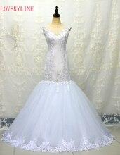 LOVSKYLINE Gambar Nyata Putih Gading Bridal Dress Vintage Muslim Plus Ukuran Mutiara Wedding Dress 2018 Putri dengan Lengan