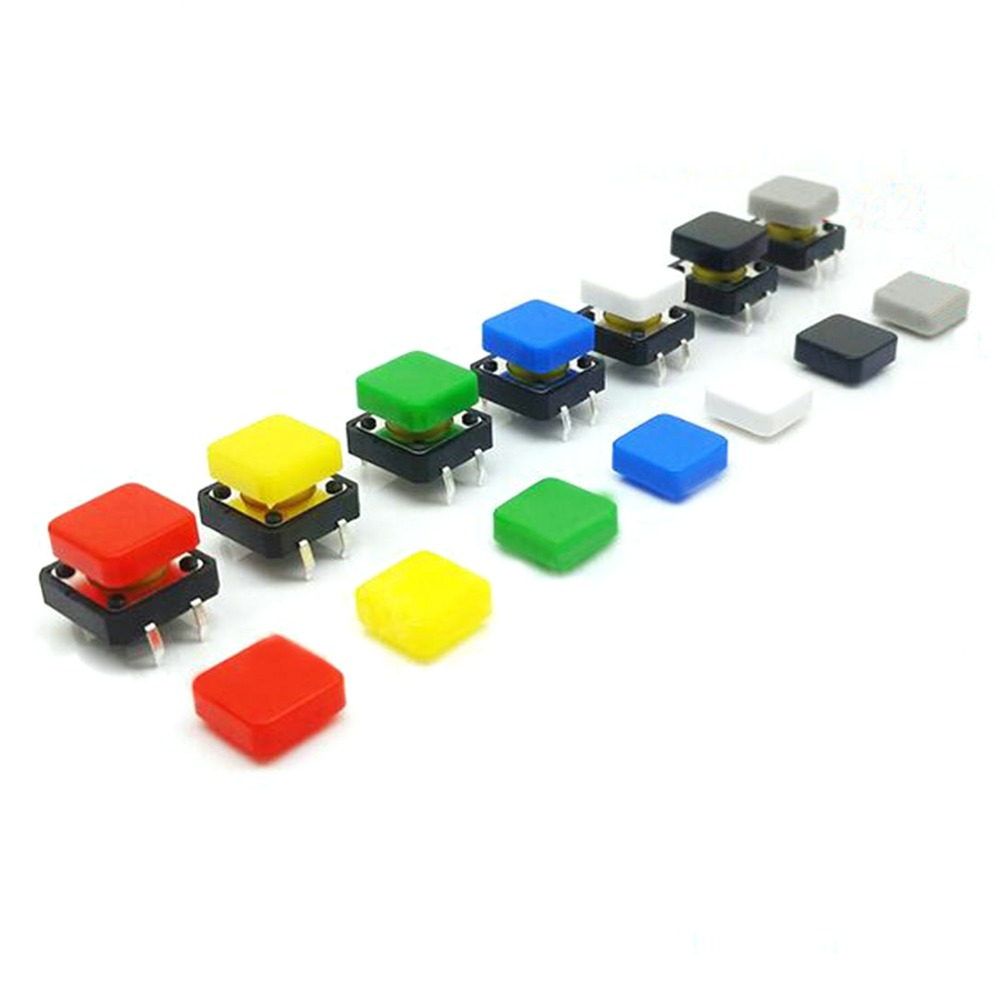 100pcs 12*12mm Push Button Cap Square Buttons Caps Multi Color Switch Cover For 12*12mm Square Button