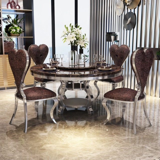 Round Dining Table For 6 Chairs Grey Leather Room Rama Dymasty Stainless Steel Set Home Furniture Modern Marble And