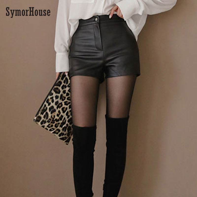 High Waist PU Leather   Shorts   Korean Fashion Black Spring Autumn Women   Shorts   Cool Skinny Work Party Wear Female   Shorts