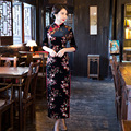 TIC-TEC chinese cheongsam long qipao slim velet Sequins vintage oriental dresses women tradicional party weeding clothes P3045