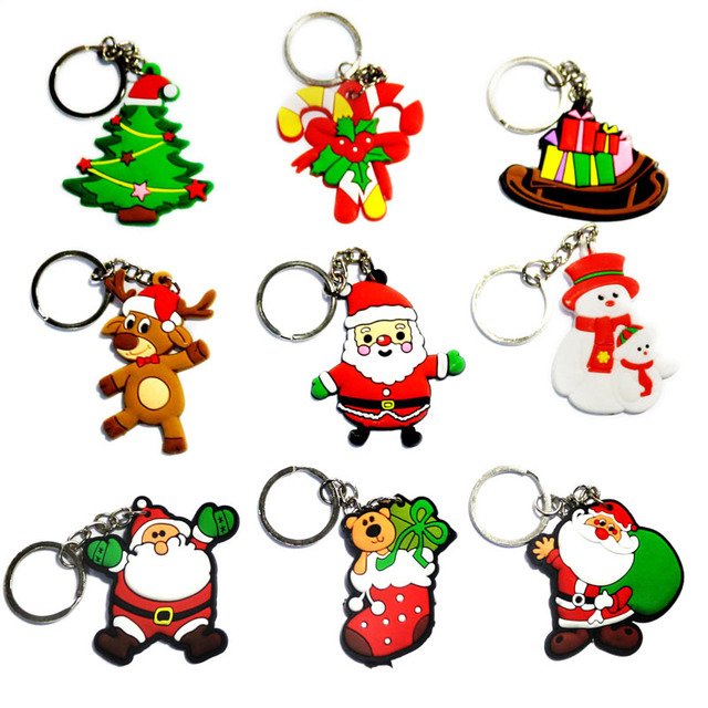 key chain christmas tree decorations cartoon childrens gift cute pendant pvc key ring celebrate - Childrens Christmas Tree Decorations