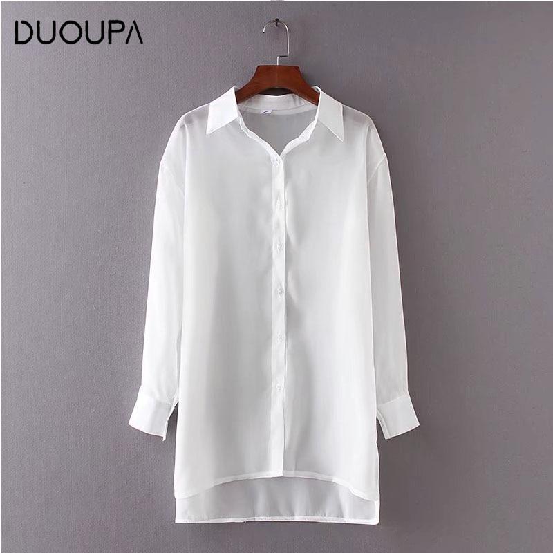 DUOUPA Womens 2019 Long Sleeve Lapel Office Chiffon Shirt Single Breasted Casual Irregular