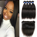 Full lace frontal closure 13x4 with bundles indian virgin hair straight human hair 4 bundles indian virgin hair with closure