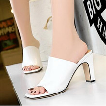 FeiYiTu 2019 Summer Ladies Fashion Sexy Thick heel Square head slippers Women open toed High heels Sandals shoes Woman Pumps