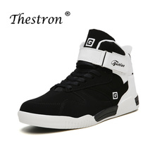 Thestron New Mens Flat Shoes Large Size 39-46 Bastketball Footwear Black White High Top Sneakers for Men Sports