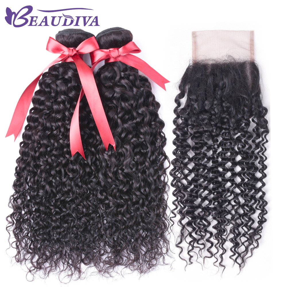 BEAUDIVA Afro Kinky Curly Weave Human Hair Bundles with Lace Closure Non-remy Brazilian Hair Weave 2/3 Bundles with Closure