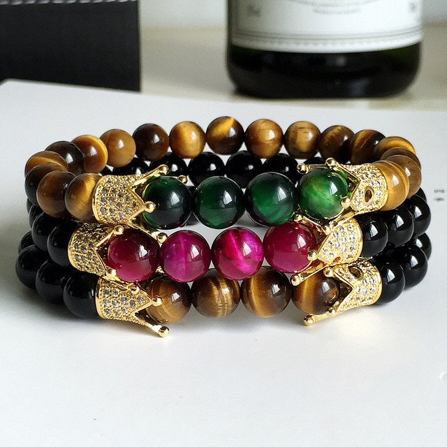 Tiger Eye Love Buddha Micro Paved Crown Charms Bracelets & Bangles Natural Stone Agate Bracelet For Women atolyestone Brand