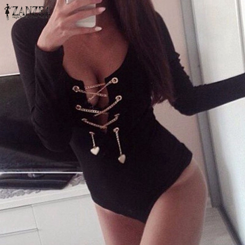 ZANZEA 2018 Rompers Womens Jumpsuit Sexy Bodysuit Short Overalls Ladies Lace Up Slim Fit Playsuits Long Sleeve Tops Plus Size