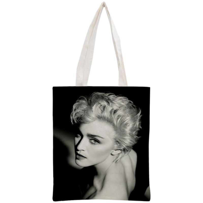 Custom Madonna Tote Bag Reusable 30x35cm Two Sides Handbag Shoulder Pouch Foldable Canvas Shopping Bags tote bag