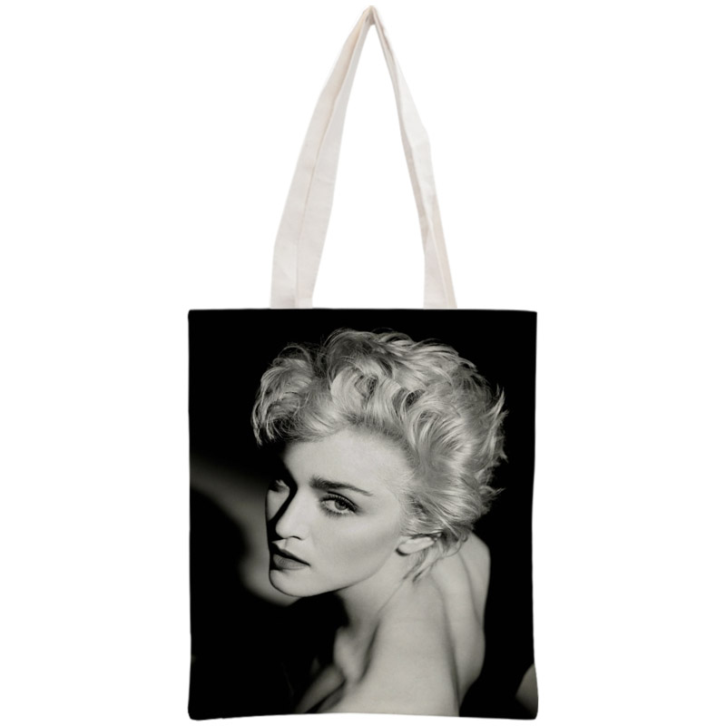 Custom Madonna Tote Bag Reusable 30x35cm Two Sides Handbag Shoulder Pouch Foldable Canvas Shopping Bags
