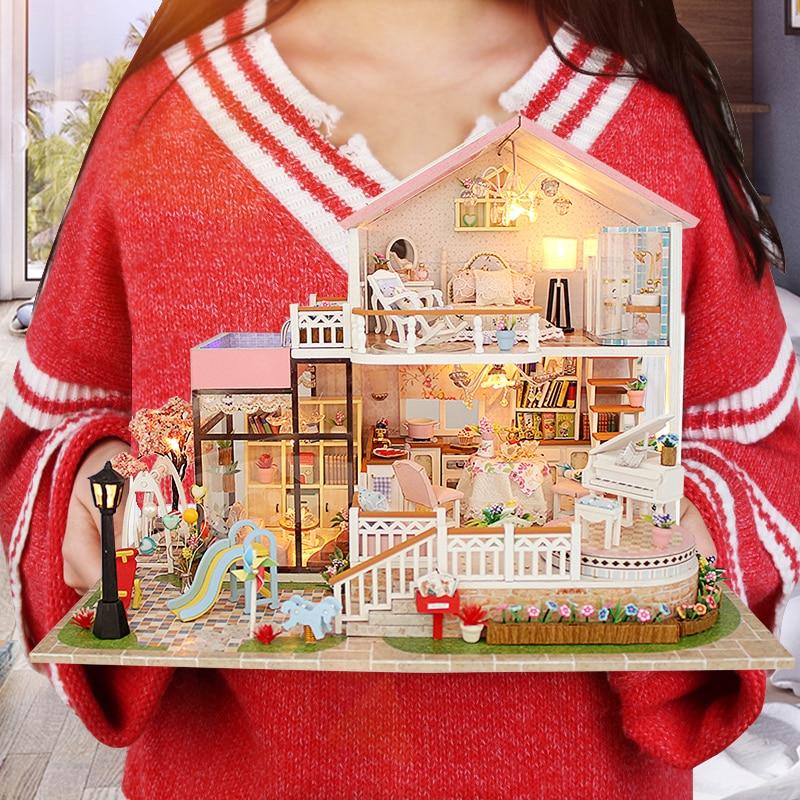 Große Puppe Haus CASA DE BONECA Miniatur Diy Puzzle Spielzeug Modell Holz  Möbel Spielzeug Geburtstag Geschenke Süße Wort Puppenhaus