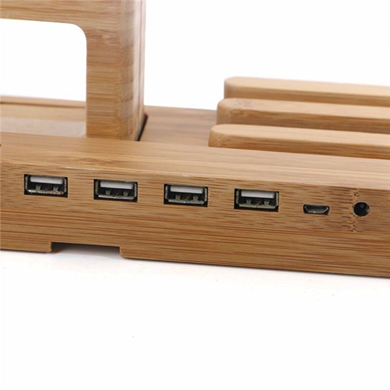 Multifunctional Bamboo USB Charging Dock/Holder for Apple Watch iPhone iPad 27