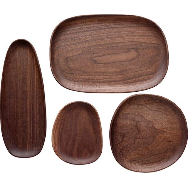 Whole Wood Black Walnut with Irregular Oval Wood Pan Plate Fruit Plate Saucer Tea Tray Dessert Plate 4