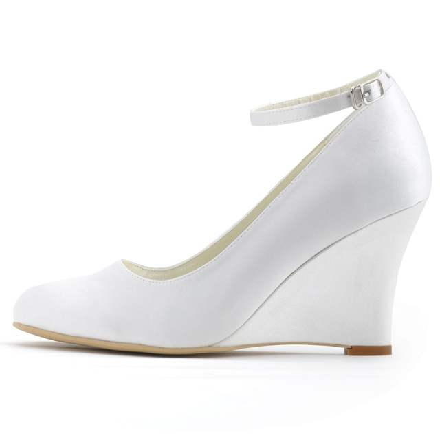 5c5a713fb210 ivory white woman wedges shoes wedding Bridal high heel ankle strap Pumps  Comfort round toe satin