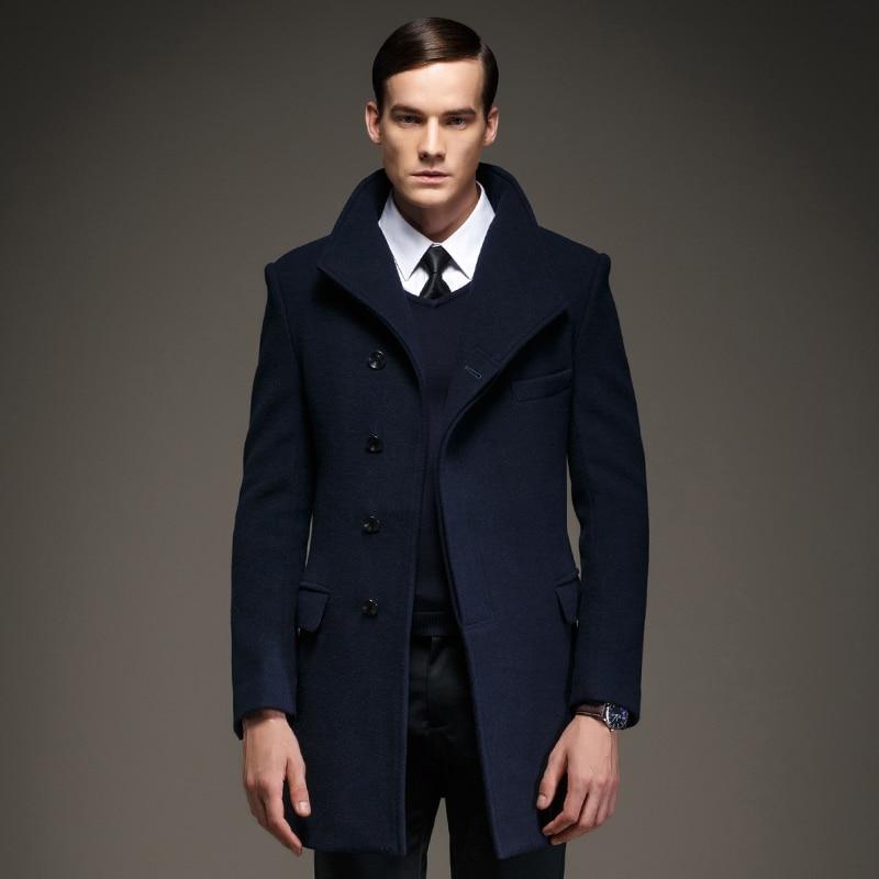 Fantastic Men Button Navy Blue Wool Coat Jacket, Men's Wool Blend Buttoned  SV69