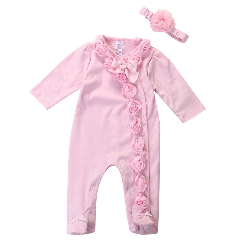 Baby Girls One Piece Suits Newborn Baby Girls Pink Long Sleeve Floral Romper Headband Autumn Clothes Outfits Set Hot 3pcs set newborn infant baby boy girl clothes 2017 summer short sleeve leopard floral romper bodysuit headband shoes outfits