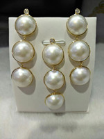 south sea MABE pearl pendant 12 13mm and earrings & 18K gold FPPJ wholesale beads nature