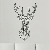 Geometric Deer Head Wall Sticker Modern Home Decor Geometry Animal Series Decals 3D Vinyl Wall Art