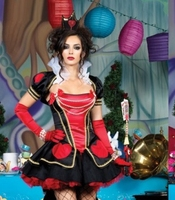 Free shipping 2014 New Deluxe Luxurious Red Sexy Halloween Dress for girl Red with Black wholesale party costume