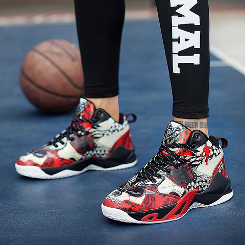 Man Basketball Shoes Autumn Winter Basketball Court Shoes Black Red Mens High Top Sneakers Lace Up Athletic Shoes Male Islamabad