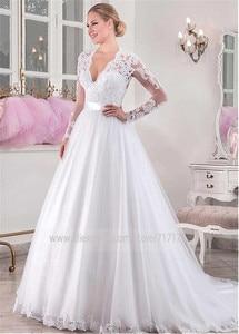Image 3 - Szykowny tiulowy dekolt w serek z naturalnej talii z długimi rękawami suknia ślubna z koralikowe aplikacje koronkowe suknia ślubna