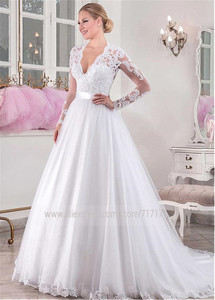 Image 3 - シックなチュール V ネックネックライン自然ウエスト A ライン長袖のウェディングドレスとビーズレースアップリケウェディングドレス