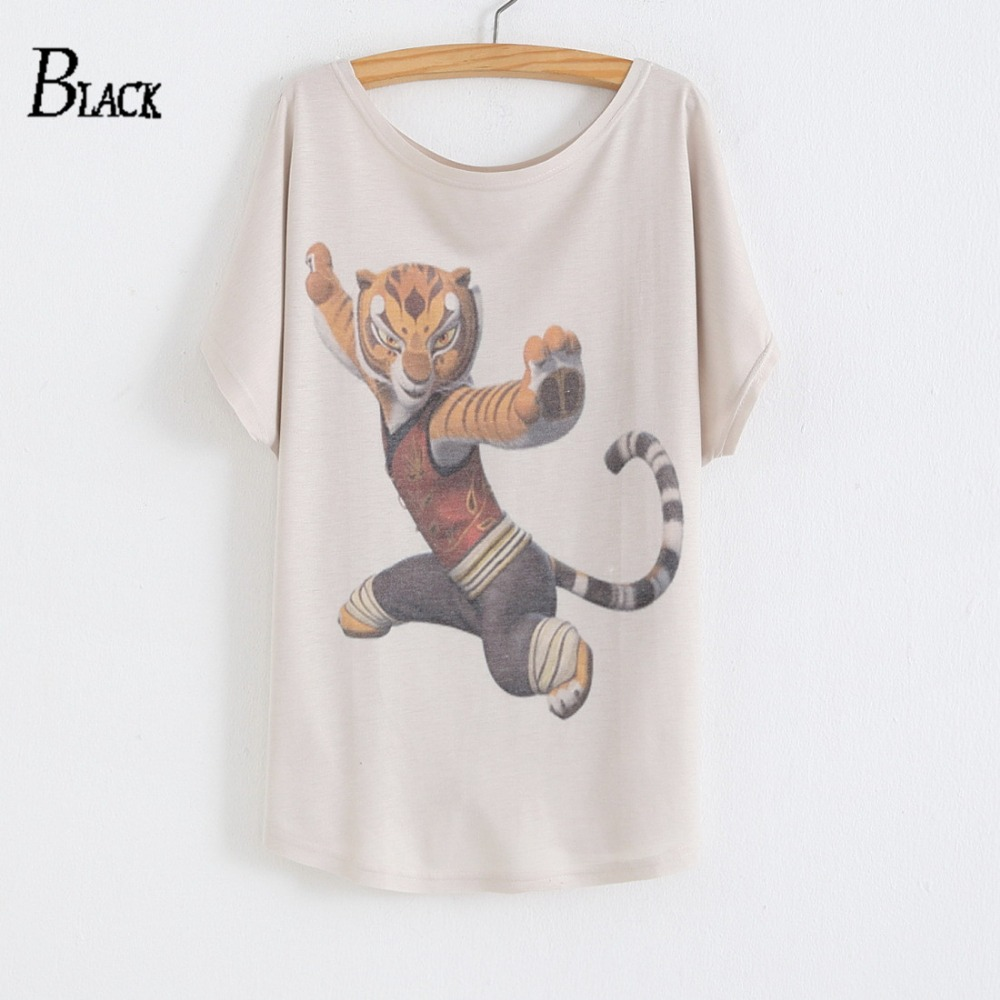Europe 2018 Summer Loose O- neck Bat Sleeves Personalized Brand Panda Mermaid Black Snake Tiger Womens T-Shirt Printing