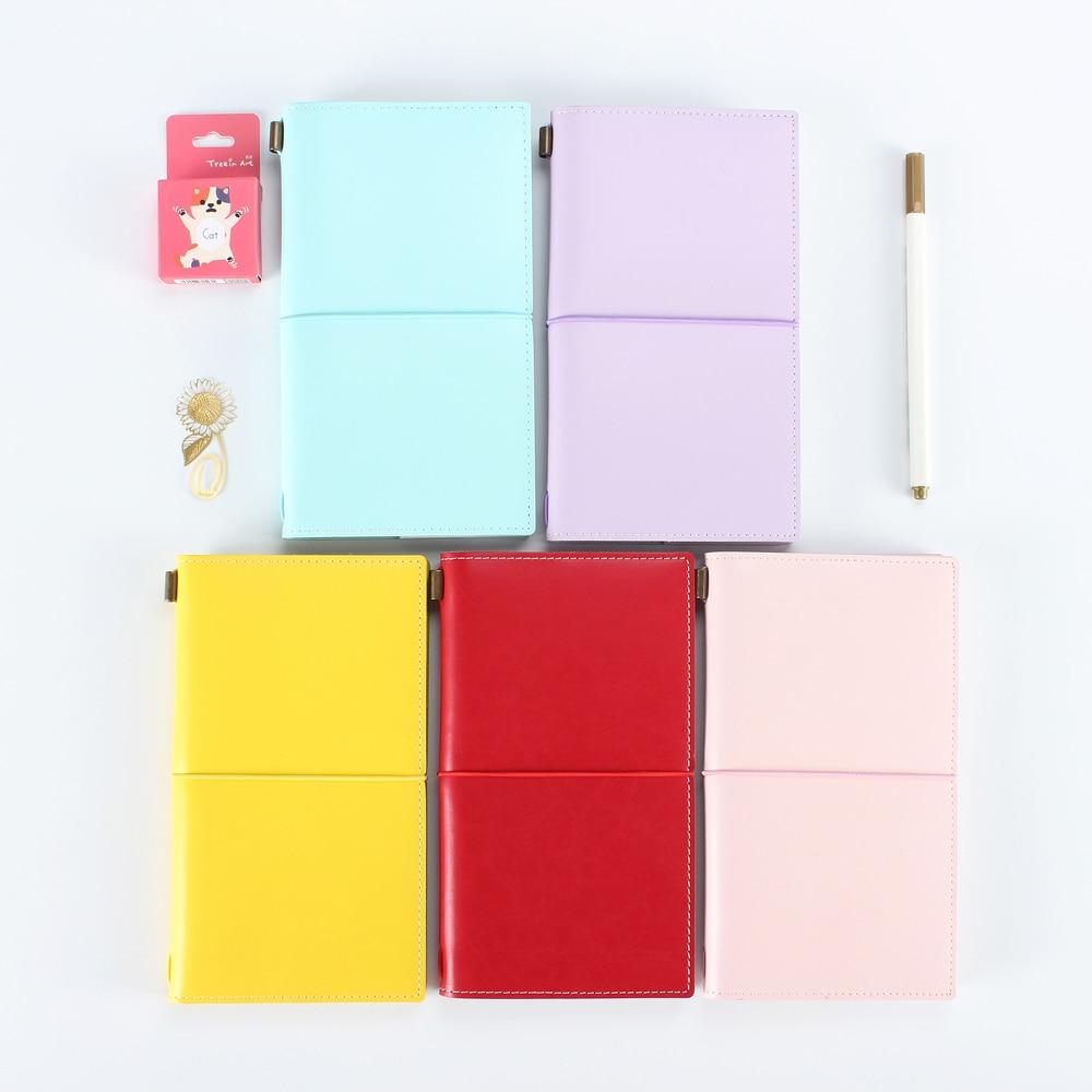 все цены на Macaron new renewable leather travel notebook,fine portable traveler journal diary planner notebooks stationery онлайн