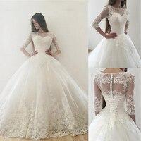 Appliques Half Sleeves Bridal Gown Vintage Tulle Bateau Neckline Wedding Cloth Wedding Dresses With Lace vestido de noiva sereia
