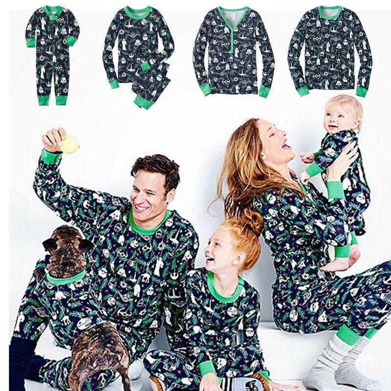 Christmas Family Pajamas Set Mon Dad Kids Winter Cotton Sleepwear Top and Trousers Nightwear Cotton Pajamas Set KS08