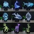 Dinossauro 3D Lâmpada Deslumbrante Visual Tridimensional Efeito de Luz Interruptor de Toque USB 7 Cores Alterar Design Criativo Luz Da Noite