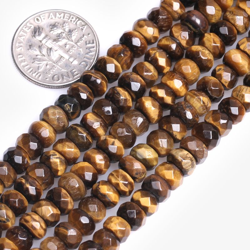 Natural Rondelle Smooth Loose Tiger Eye Spacer Stone Beads For Jewelry Making Bracelet Necklace Strand 15 DIY Jewellery