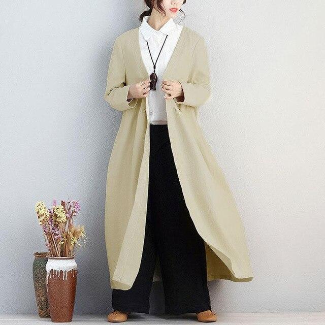 ZANZEA Elegant 2019 Women Open Front Long Sleeve Pockets Cotton Linen Jacket Autumn Loose Solid Long Cardigan Coat Plus Size