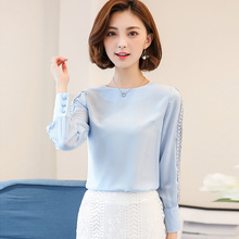58941d888d5539 VogorSean New Women Blouses Long sleeve Hollow Out Lace Blouse Tops Office  Shirt Casual Work Blusas