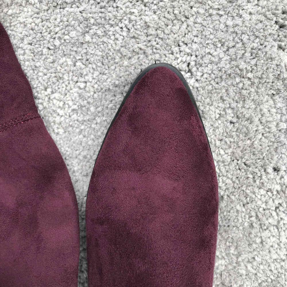 Frauen Oberschenkel Stiefel Flock Flache Ferse Über das Knie Stiefel Mode Spitz Lange Stiefel Winter Komfort Schuhe Schwarz Wein rot Grau
